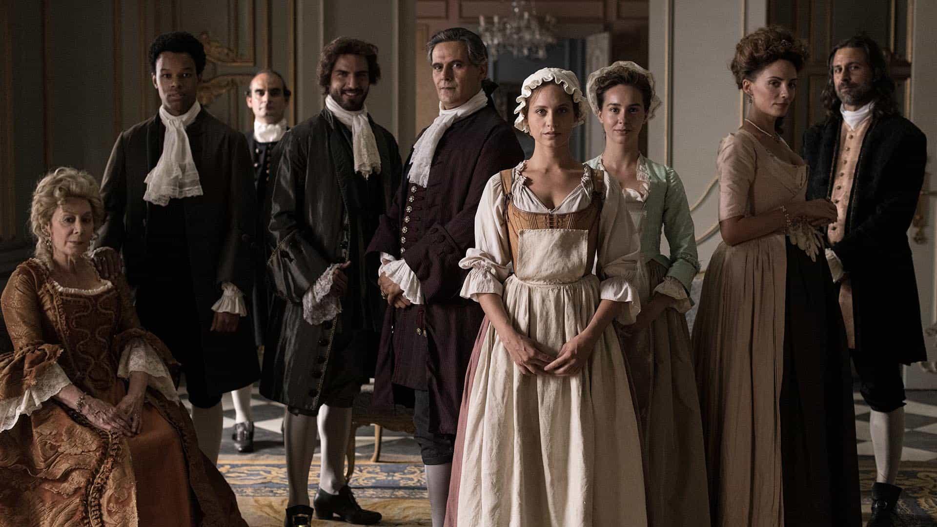 Todo el elenco de La cocinera de Castamar vestidos de época